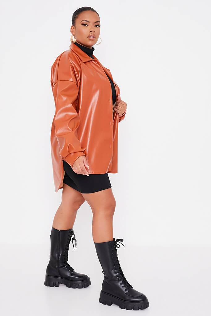 Rust Plus Size Faux Leather Shacket view 3