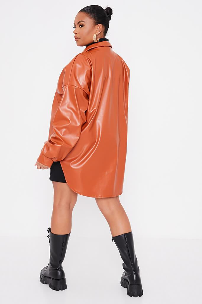 Rust Plus Size Faux Leather Shacket view 4
