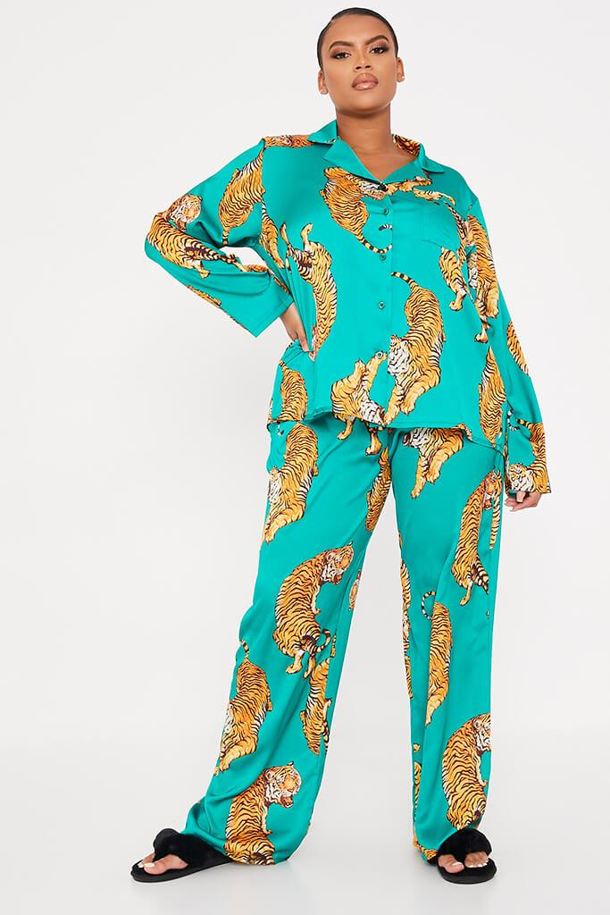 Emerald Green Plus Size Satin Tiger Print Pyjama Trousers view main view