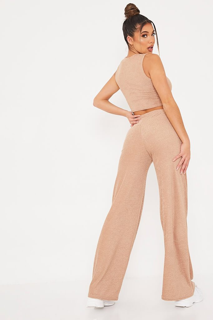 Stone Teddy Racer Back Top And Wide Leg Trouser Set view 4