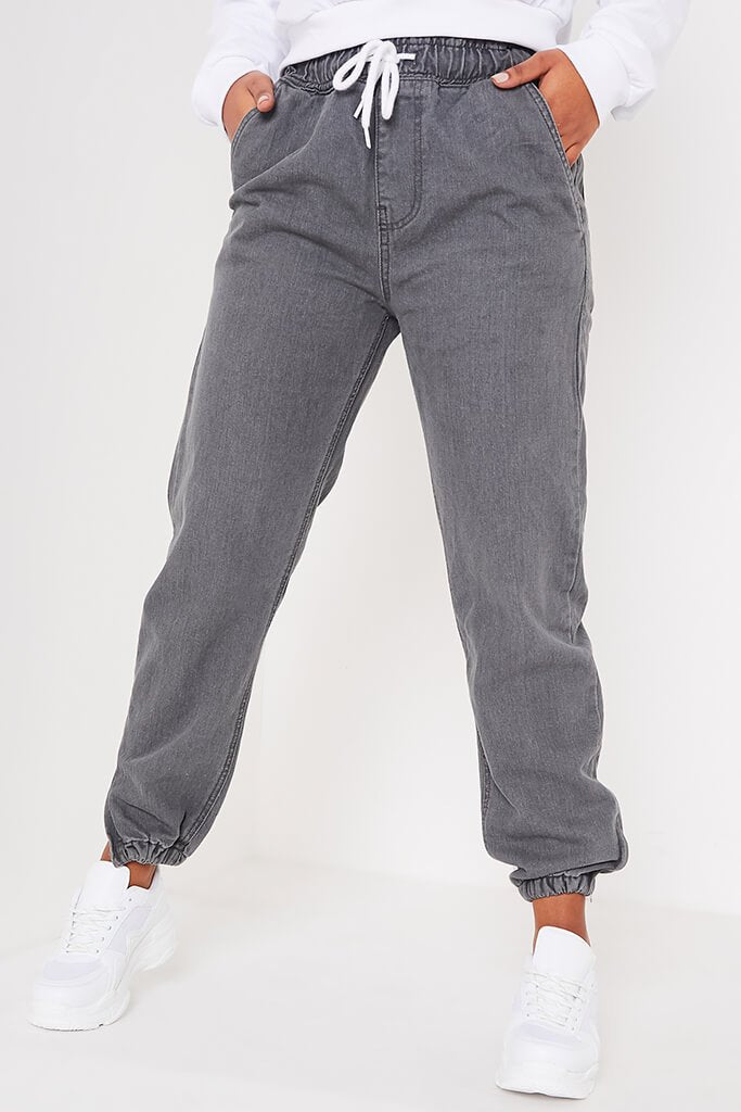 Charcoal Drawstring Baggy Jogger Jeans view 2