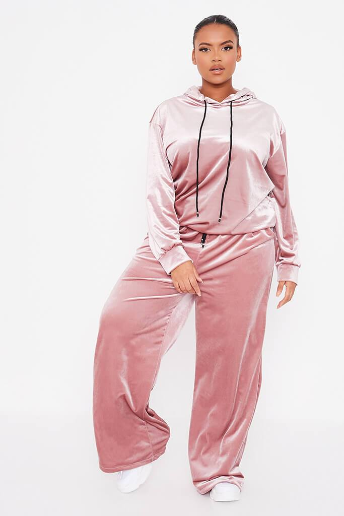 Blush Pink Plus Size Velvet Wide Leg Trousers