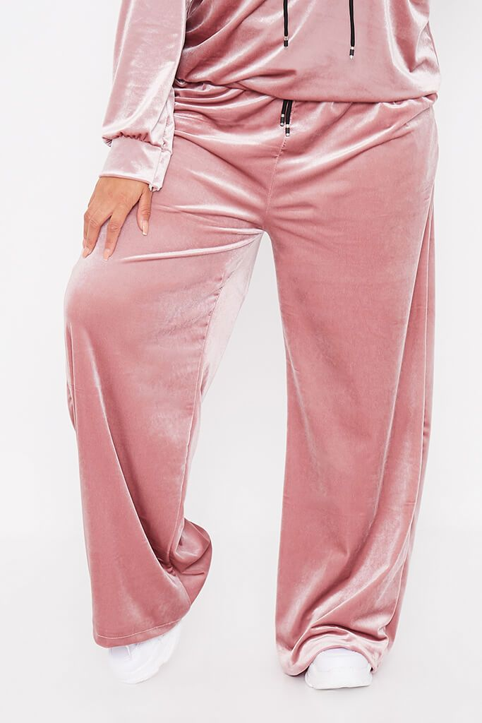 Blush Pink Plus Size Velvet Wide Leg Trousers view 2