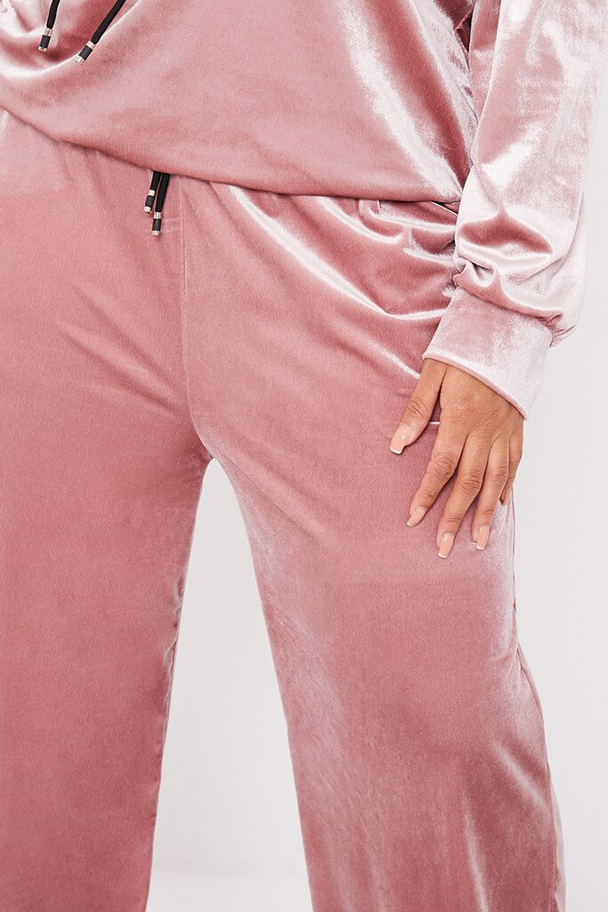 Blush Pink Plus Size Velvet Wide Leg Trousers view 5
