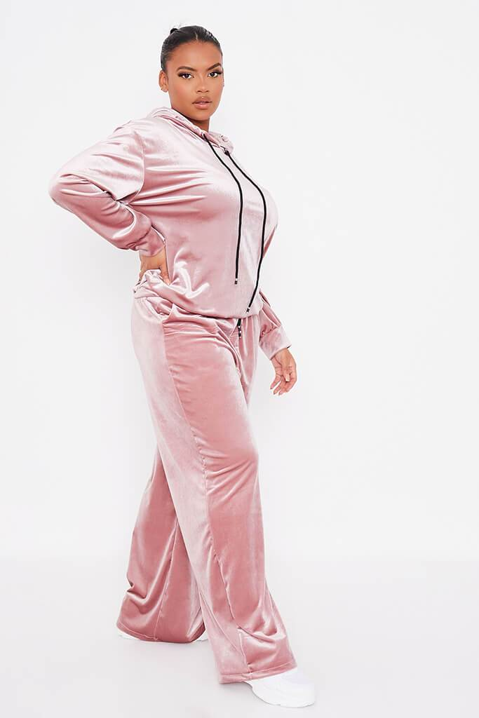 Blush Pink Plus Size Velvet Wide Leg Trousers view 3