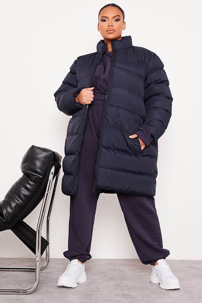 Navy Plus Size Midi Length Padded Jacket view 2
