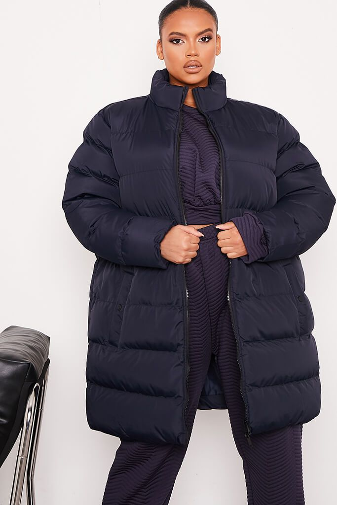 Navy Plus Size Midi Length Padded Jacket