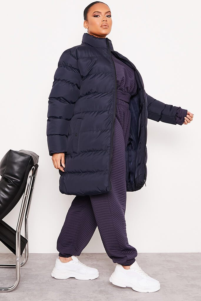 Navy Plus Size Midi Length Padded Jacket view 3