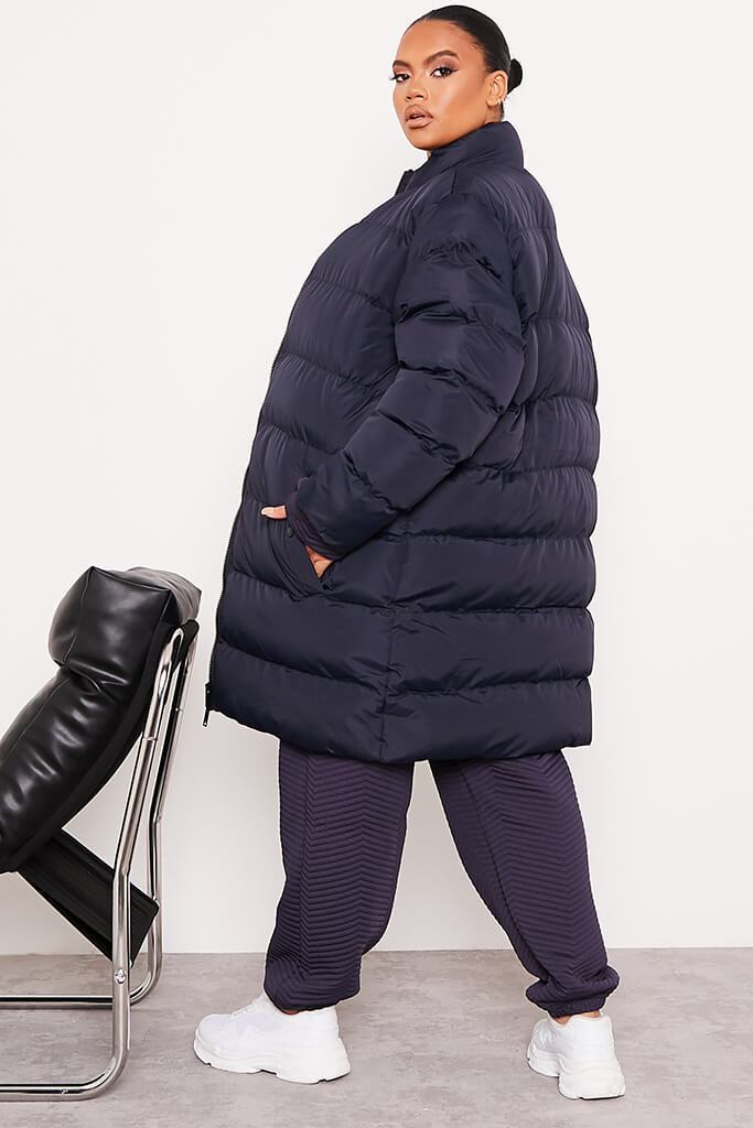 Navy Plus Size Midi Length Padded Jacket view 4