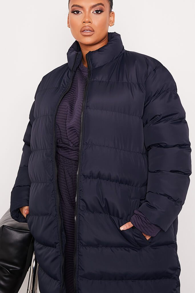 Navy Plus Size Midi Length Padded Jacket view 5