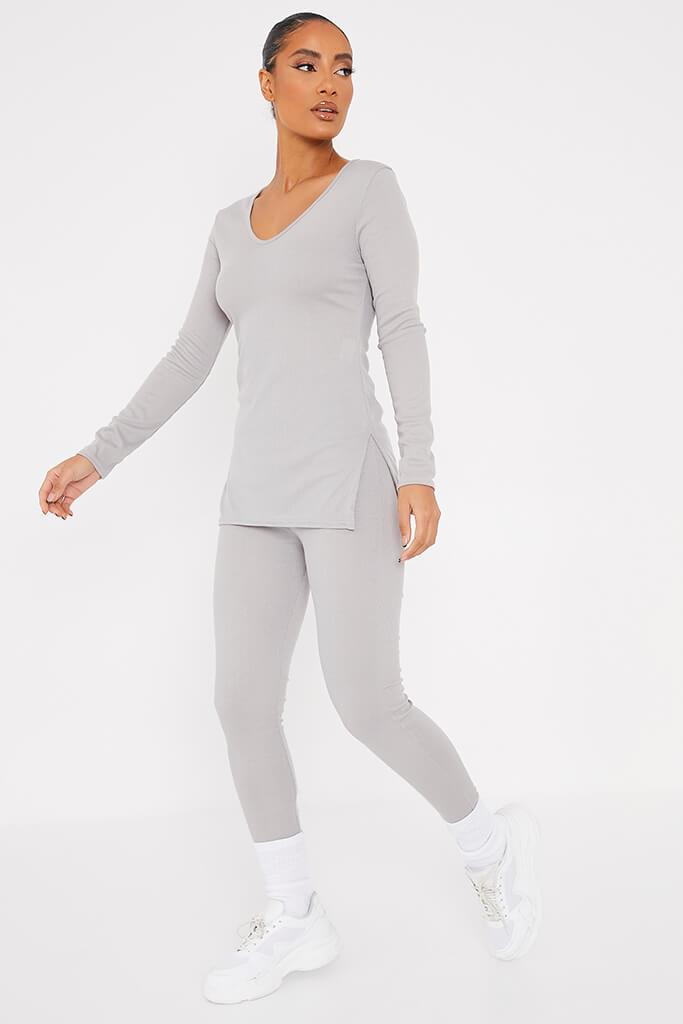Grey Marl Soft Rib Tunic Side Split Top With Leggings