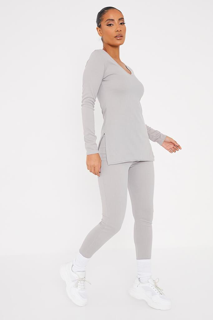 Grey Marl Soft Rib Tunic Side Split Top With Leggings view 2