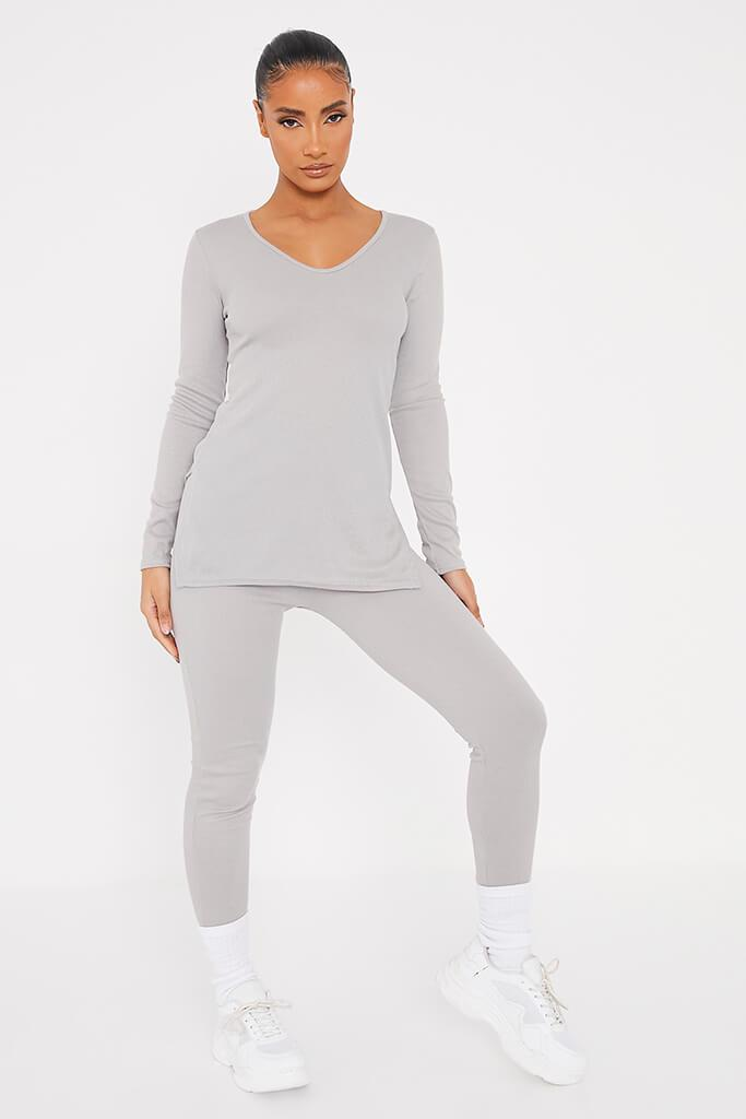Grey Marl Soft Rib Tunic Side Split Top With Leggings view 3