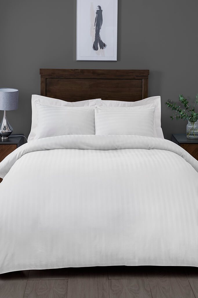 White Double Satin Stripe Bedding Set