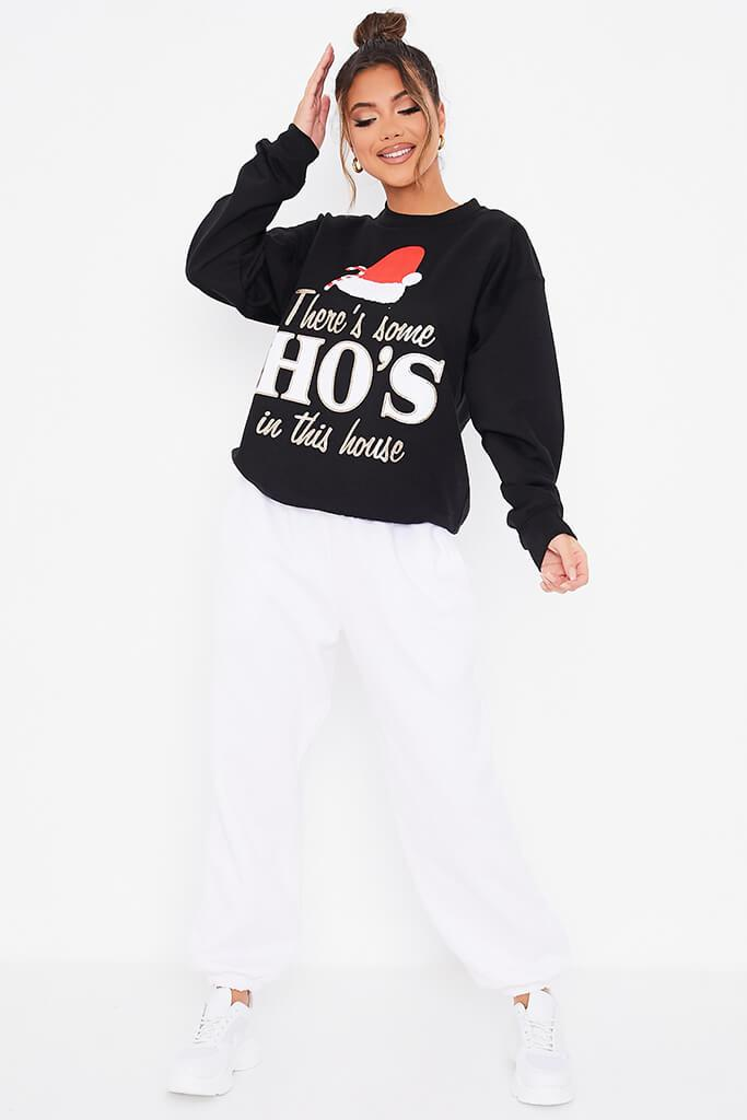 Black Glitter Christmas In This House Oversized Sweatshirt view 2
