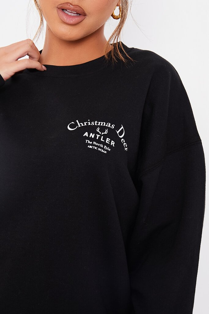 Black Christmas Deer Oversized Sweatshirt view 5