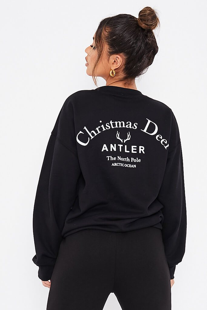 Black Christmas Deer Oversized Sweatshirt view main view