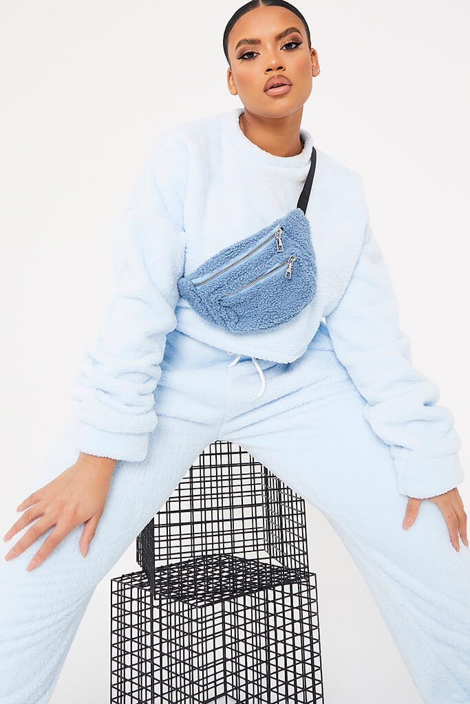 Baby Blue Plus Size Borg Crop Crew Neck Sweat-Shirt And Jogger Set