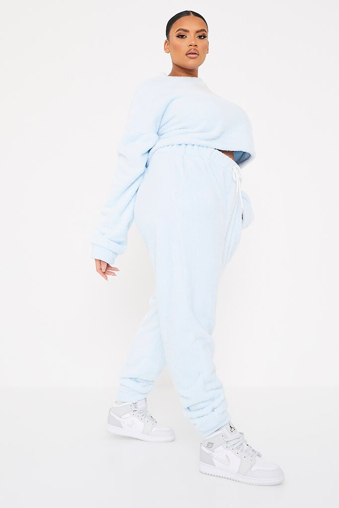 Baby Blue Plus Size Borg Crop Crew Neck Sweat-Shirt And Jogger Set view 3