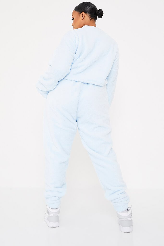 Baby Blue Plus Size Borg Crop Crew Neck Sweat-Shirt And Jogger Set view 4