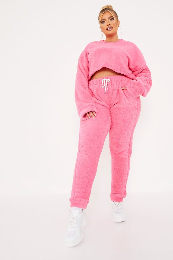 Pink Plus Size Borg Crop Crew Neck Sweatshirt And Jogger Set