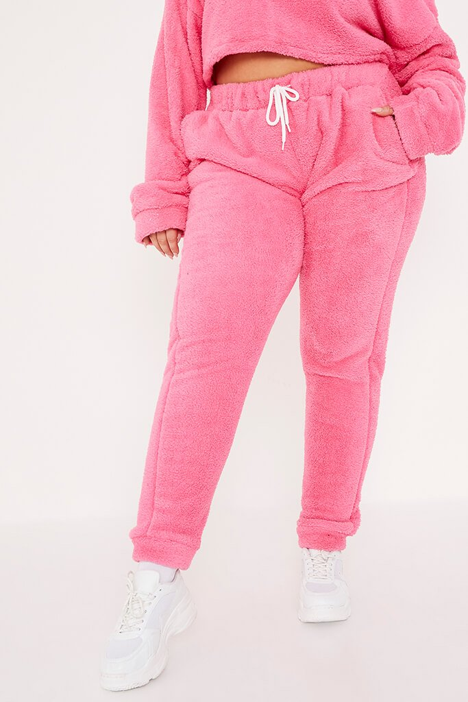 Pink Plus Size Borg Crop Crew Neck Sweatshirt And Jogger Set view 2