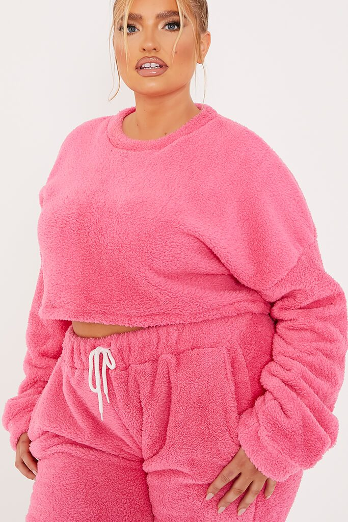 Pink Plus Size Borg Crop Crew Neck Sweatshirt And Jogger Set view 5