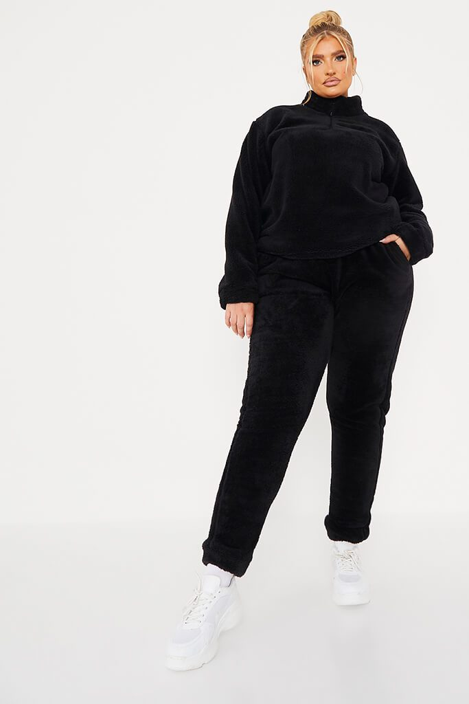 Black Plus Borg Half Zip Long Sleeve Sweat view 2