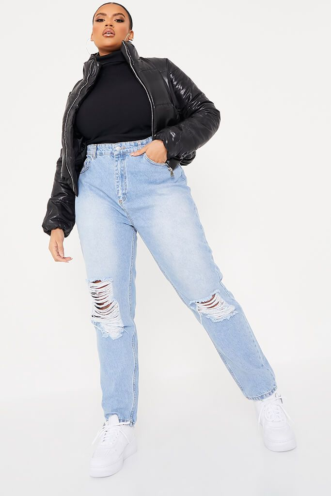 Vintage Wash Plus Size Distressed Knee Mom Jean