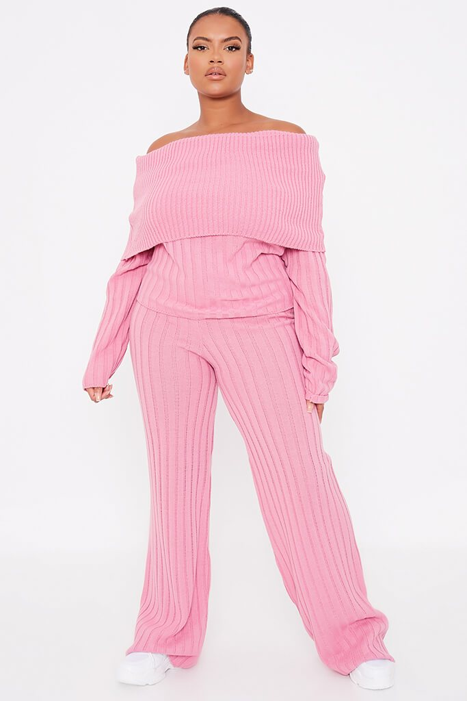 Dusky Pink Plus Size Bardot Knitted Top With Wide Leg Knitted Trouser view 2