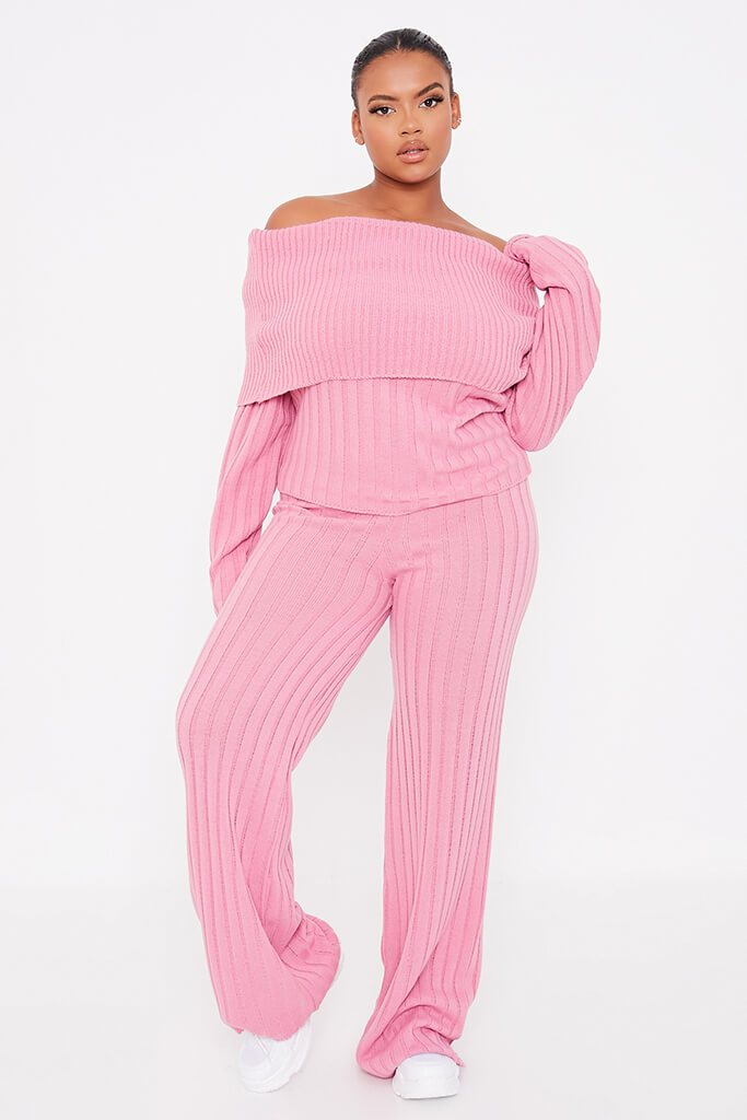 Dusky Pink Plus Size Bardot Knitted Top With Wide Leg Knitted Trouser