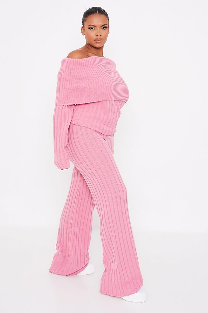 Dusky Pink Plus Size Bardot Knitted Top With Wide Leg Knitted Trouser view 3