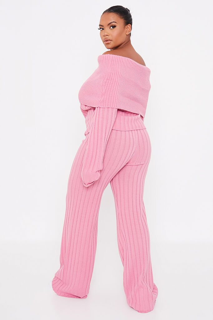Dusky Pink Plus Size Bardot Knitted Top With Wide Leg Knitted Trouser view 4