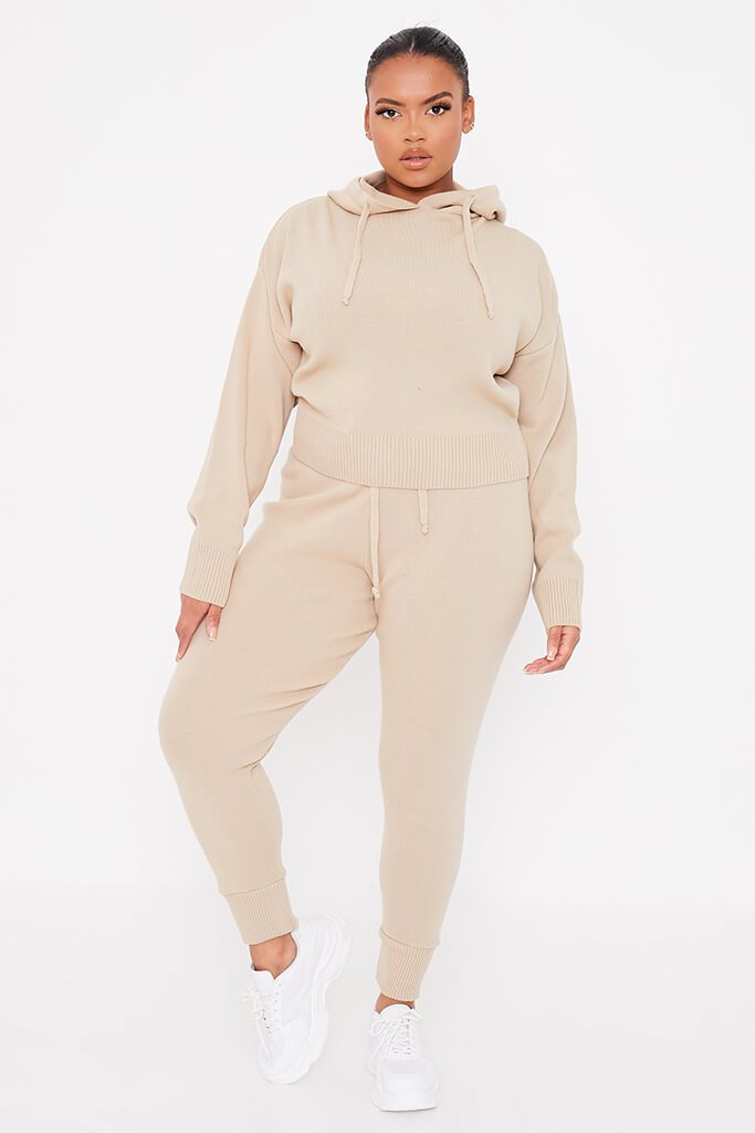 Stone Plus Size Knitted Hoody With Knitted Slim Leg Jogger view 2