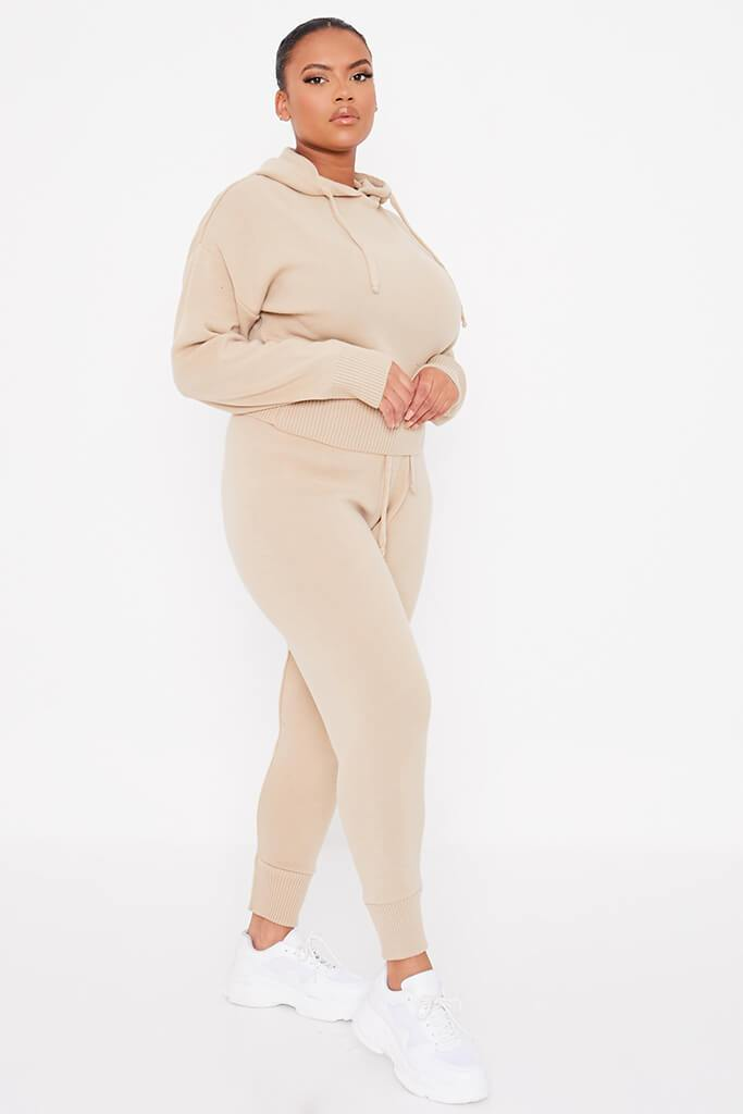 Stone Plus Size Knitted Hoody With Knitted Slim Leg Jogger view 3