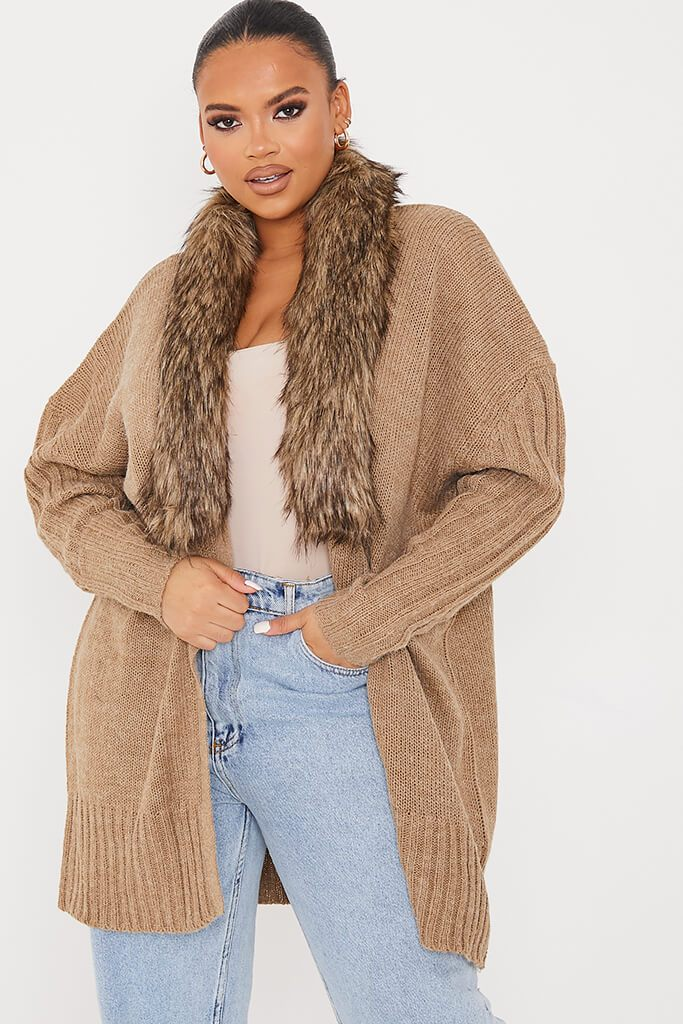 Camel Plus Cardigan With Detachable Faux Fur Collar
