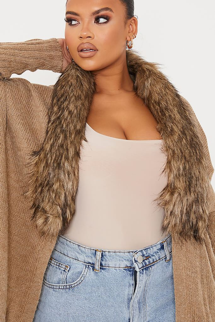 Camel Plus Cardigan With Detachable Faux Fur Collar view 5