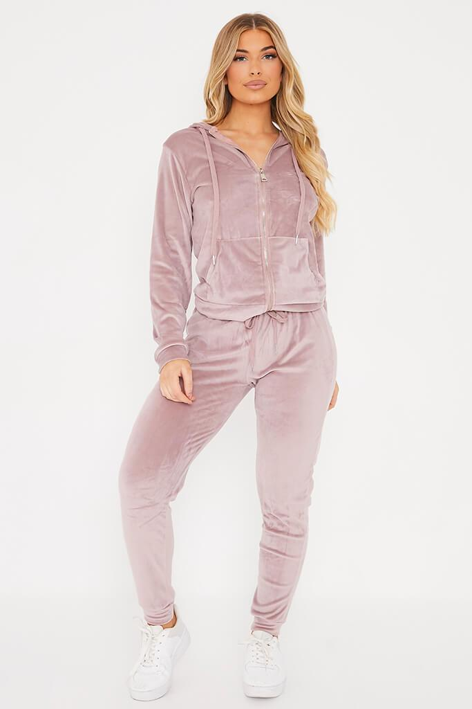 Pink Velour Hoodie And Jogger Set
