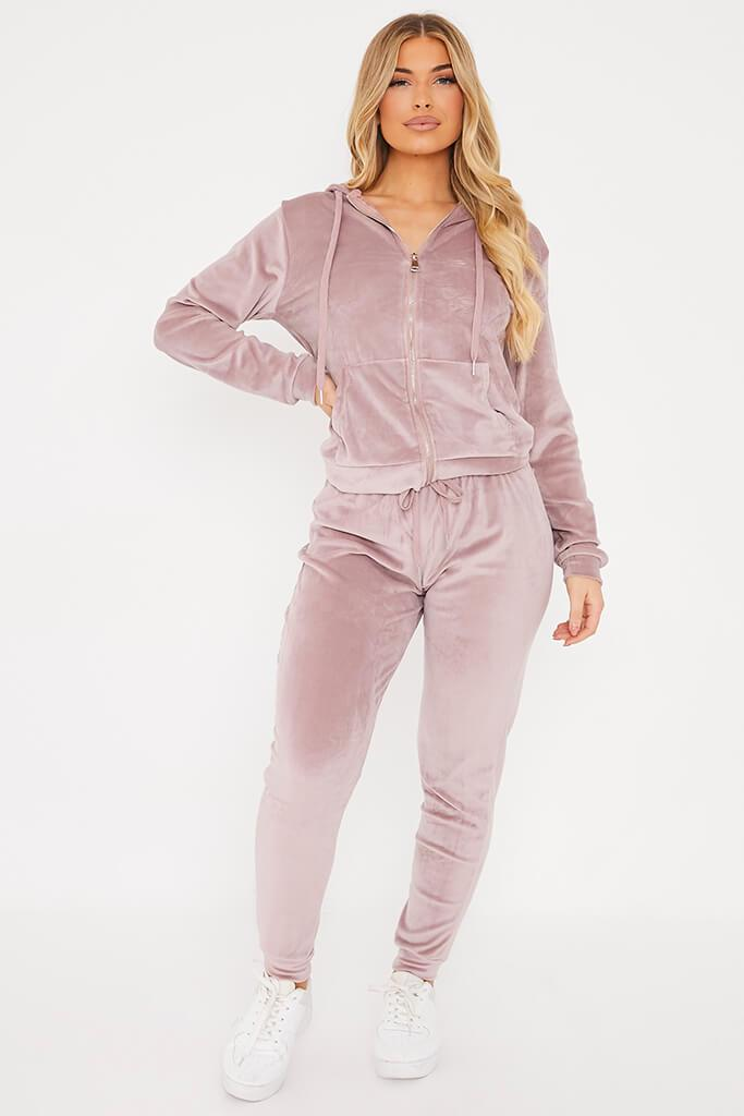 Pink Velour Hoodie And Jogger Set view 2