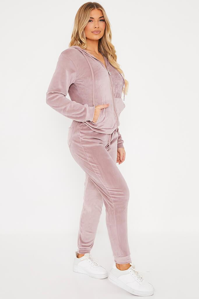 Pink Velour Hoodie And Jogger Set view 3