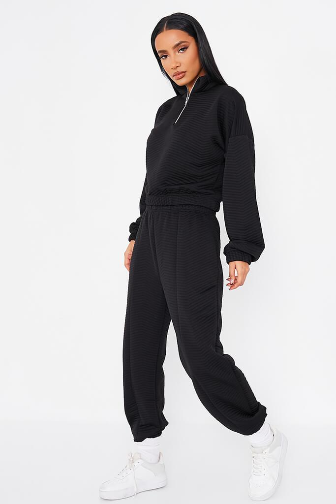 Black Quilted Pin Tuck Joggers view 3
