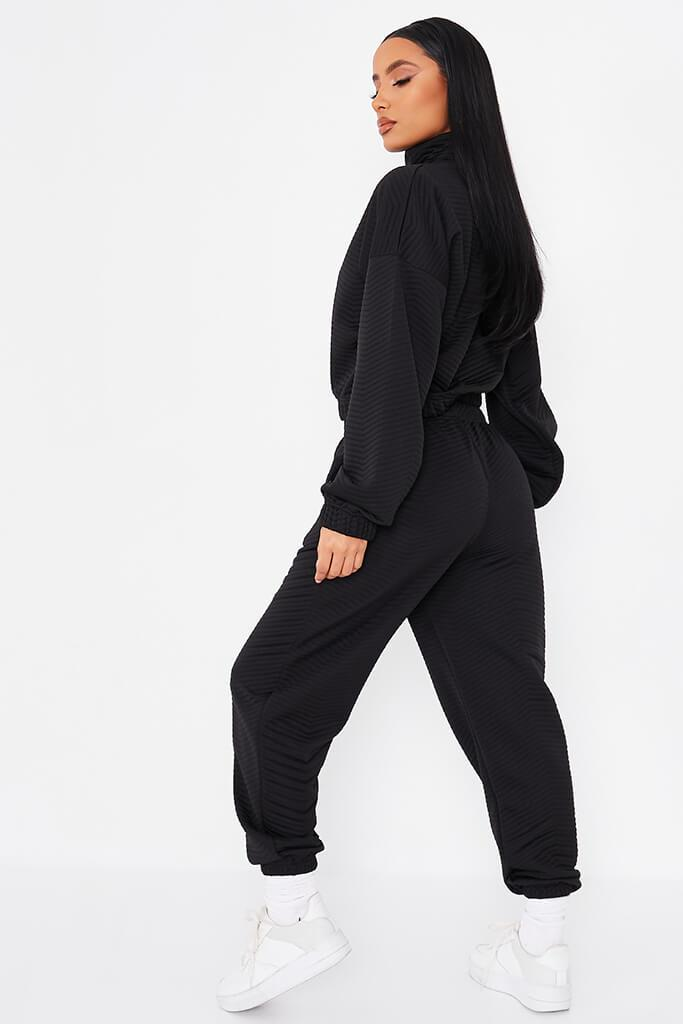 Black Quilted Pin Tuck Joggers view 4