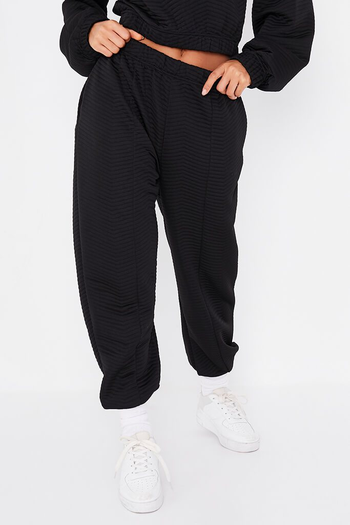 Black Quilted Pin Tuck Joggers view 2
