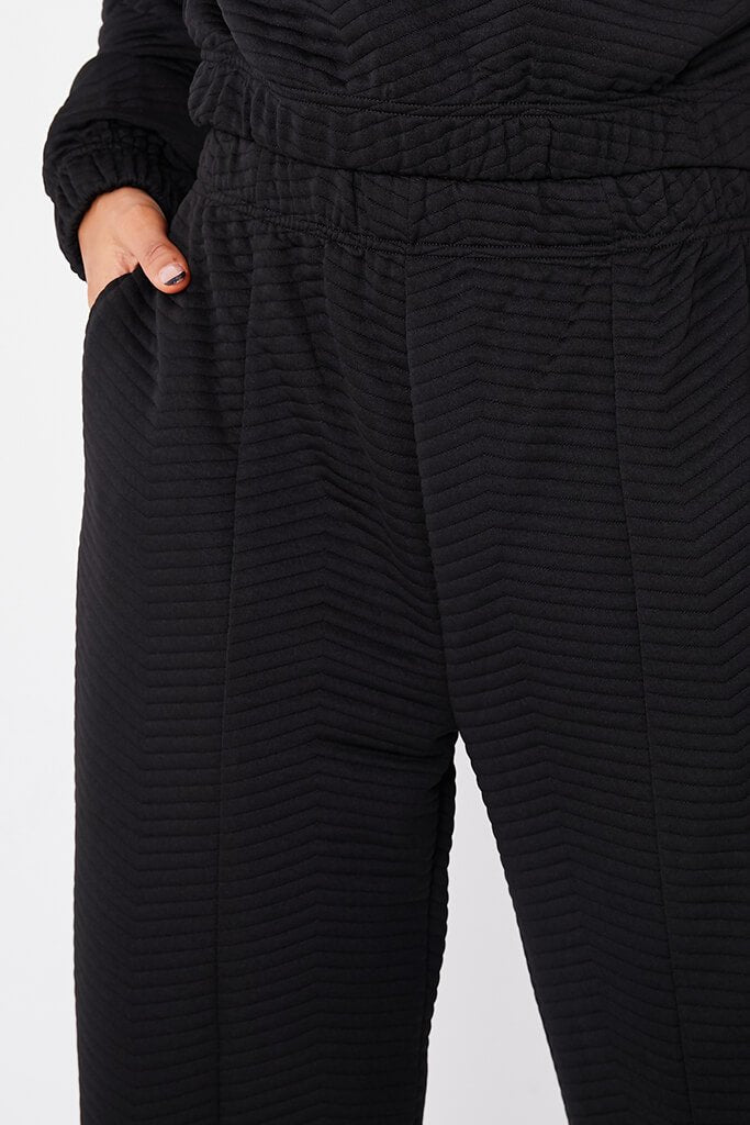 Black Quilted Pin Tuck Joggers view 5