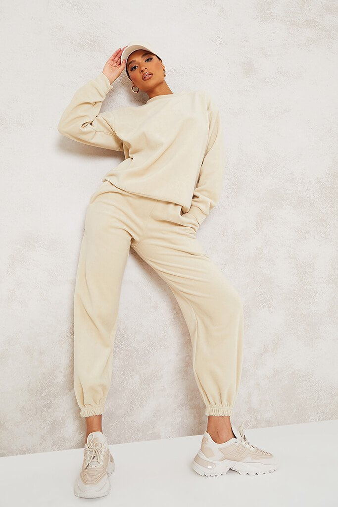 Cream Micro Fleece Sweat And Jogger Set view main view