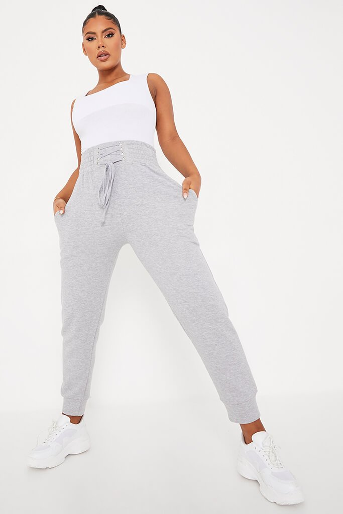 Grey Corseted Waist Joggers