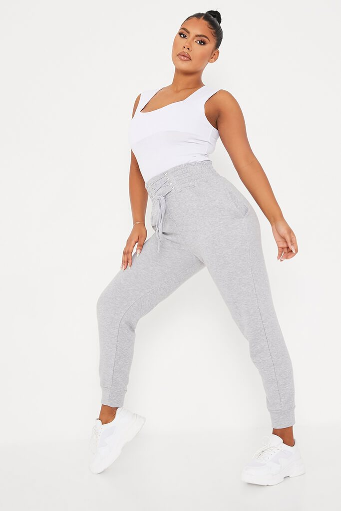 Grey Corseted Waist Joggers view 3