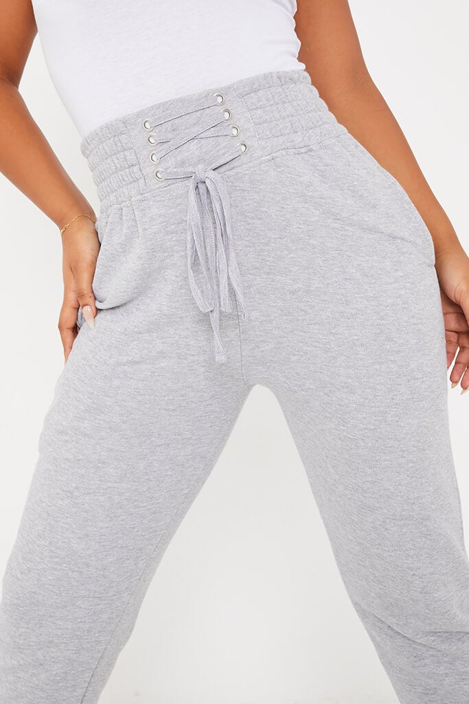 Grey Corseted Waist Joggers view 5