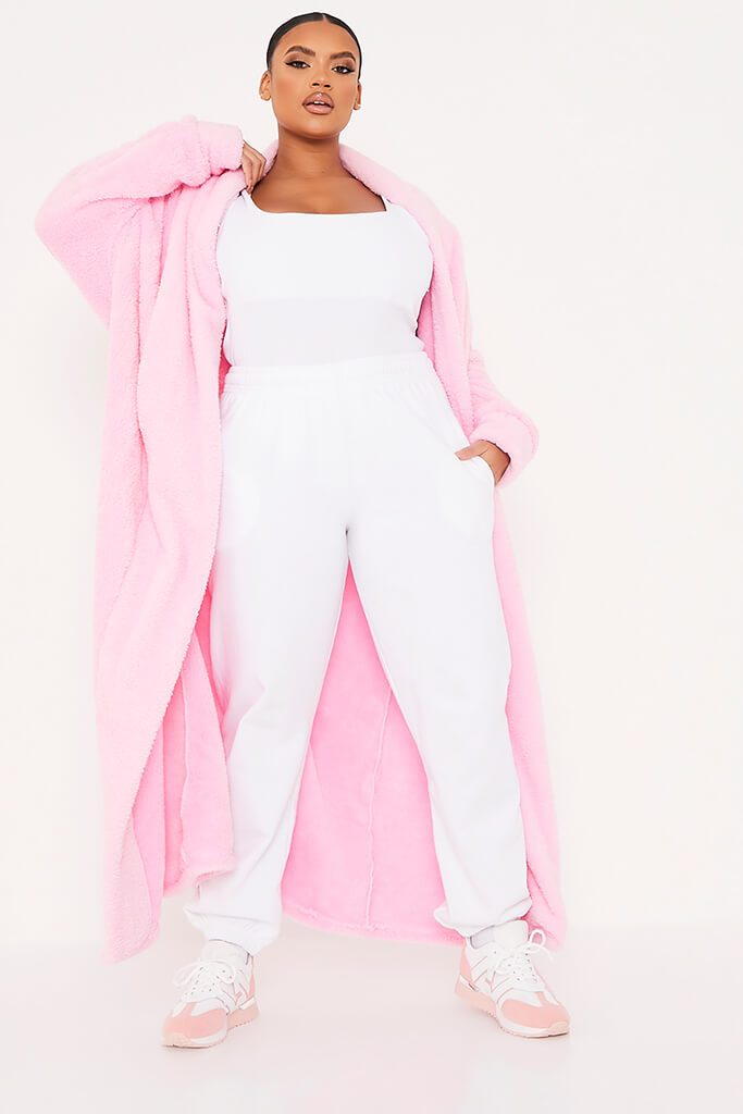Pink Plus Borg Longline Dressing Gown