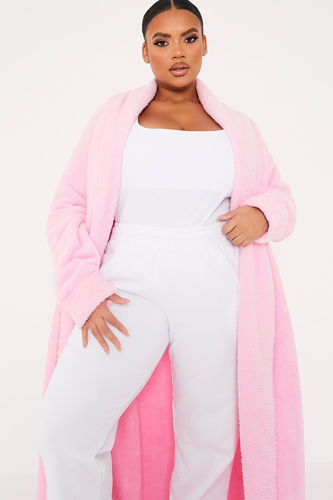 Pink Plus Borg Longline Dressing Gown view 2